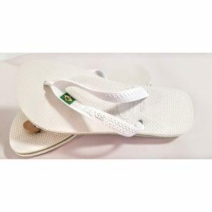 Brazilian Havaianas Flip-Flops, White,  4/…